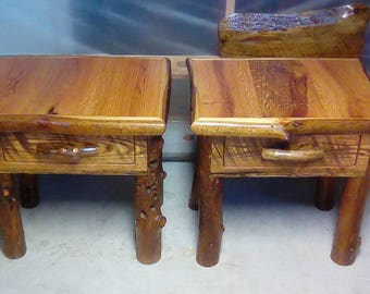 Rustic End Table, Rustic night stand, End table, wood table, small table, End Table with drawer, Night stand with drawer,Oak table,Log table