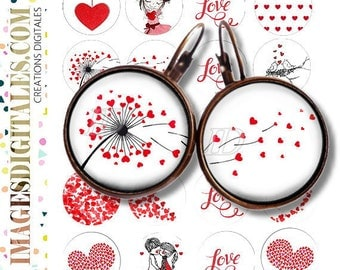 PRETTY VALENTINE id Digital Collage Sheet Printable Instant Download for art jewelry scrapbooking bottle caps magnets pins
