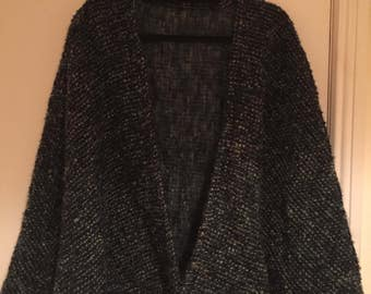 Knitted green wool capelet