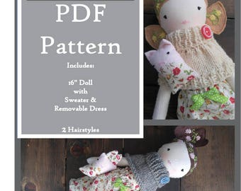 "PDF Pattern Heriloom Doll 16"", printable, soft rag doll sewing pattern"