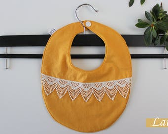 Bib made of cotton and lace, yellow, baby yellow bibs