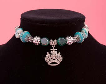 """Handcrafted Glass Bead Dog Necklace with Crystal Crown """"Here Comes the Queen"""""""