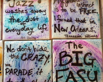 Handmade Tile Coasters - New Orleans Style Sets
