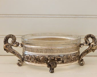 Shabby Chic Footed Condiment Dish Silverplate Cut Glass Ornate Vintage