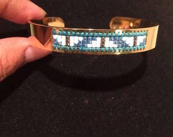 Stainless Miyuki Bangle - Stainless Gold Platted - Women Gift - Handmade Bangle