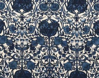Cotton Lawn Dressmaking Fabric Beautiful Maya Floral Design in Navy Blue - HALF METRE
