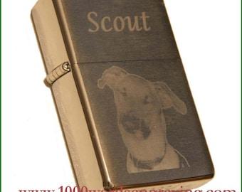 Custom photo-engraved brushed-finished Zippo lighter
