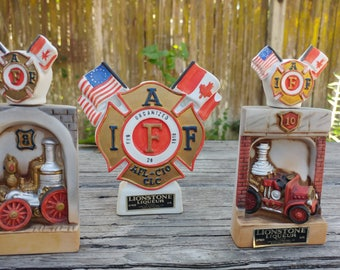 3 Mini Vintage Decanters // I.A.F.F. Firefighter Bottle Collection