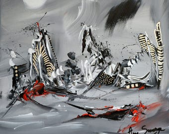Remains white black gray abstract painting