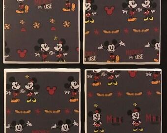 Mickey/Minnie Ceramic Tile Coasters