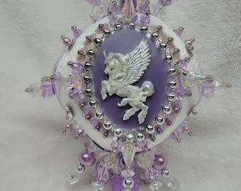 Prancing Pegasus beaded satin ornament