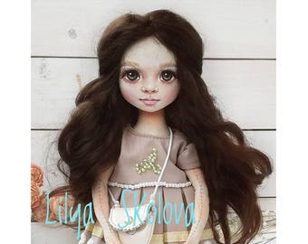 Textile doll brunette textile doll and interior doll fabric doll portrait doll cloth textile doll текстильная кукла selfy doll portrait doll