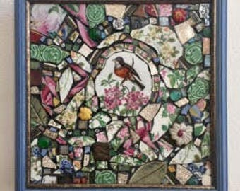 Look Forward - Mosaics by Kim - Mixed Media Glass Plate Art Collage - Limoges Robin Bird