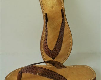 Mens' Leather Sandal, Plaited Leather FlipFlop, Beach Shoes, Summer Sandal, Strappy Sandal, Beach Wear.