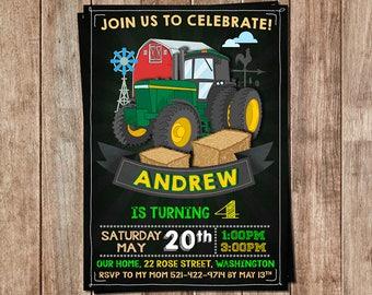 Tractor Invitation- Tractor Birthday- Tractor Personalized- Tractor Birthday Invitation- Tractor Printable- Tractor Party- Tractor Invite