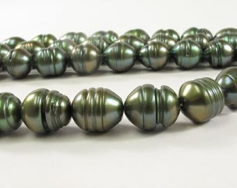 10-12 x 12-14mm Rice/Oval Ringed Genuine Freshwater Pearl Beads, Cultured Pearls in Olive Green, Brown & Pink Colors (288-RWMIX1114)