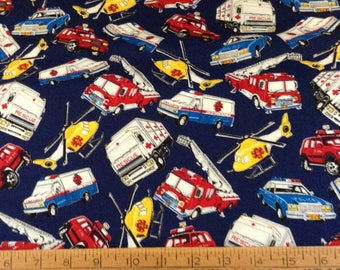 Rescue vehicles cotton fabric by the yard