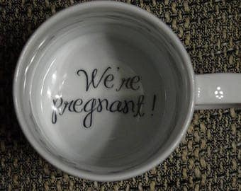 We're Pregnant Coffee Mug, pregnancy reveal, Pregnancy Announcement, Father, Bottom mug, hidden message, secret message, Funny, Cool