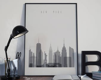 New York Art New York Watercolor New York Multicolor New York Wall Art New York Wall Decor New York Home Decor New York City NYC Skyline