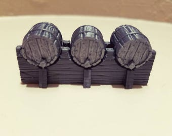 Keg Stand and 3 Kegs - 3D Printed 28mm Scale