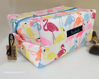 Box Pouch, Cosmetic Bag, Make Up Bag, Toiletry Bag, Large Box Shape Style Cosmetic Bag, Travel Bag, Made in Australia, Neon Flamingos, Gift.