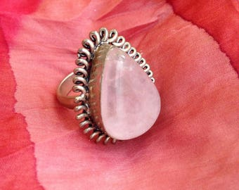 Pink Quartz Unconditional Love Ring - Boho Ring Adjustable Band Alpaca Silver and Rose Quartz gemstone