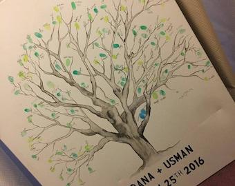 Wedding Fingerprint Thumbprint Tree Guestbook Canvas   Handpainted   Custom   Unique   Alternative   Ink   Black   White   Personalized
