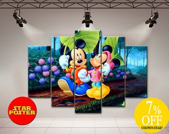 Mickey Mouse canvas, Mickey Mouse, Minnie Mouse, Mickey And Minnie, Disney Art Kids, Mickey Wall Decor, Disney Poster, Nursery Room Art, Art