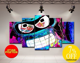 Bender canvas, Futurama wall art, Futurama canvas, Bender wall art, Bender canvsa art, Futurama art, Futurama print, Bender home decor