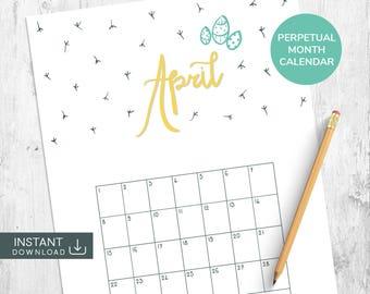 April Printable Calendar, Perpetual Calendar, Hand Lettered Calendar, Hand Drawn Calendar, Single Month Calendar, Month Wall Calendar