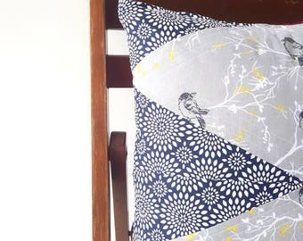 In the Branches Quilted Pillow Cover | Geomteric | Modern Quilting | 15 x 15 | Navy, Red & Grey | Birds | Gift | Nursery | Bedroom