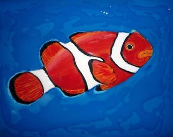 Original Mixed Media Painting, Clown Fish Art, Wall Art, Living Room Art, Bedroom Art. 3D Art, Marine Art