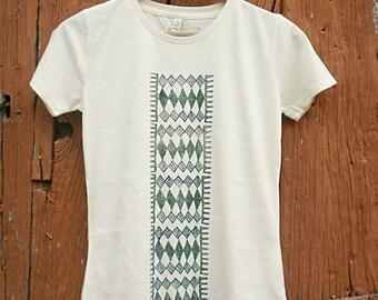 Eco Safe friendly cotton Handprinted pattern tshirt woman