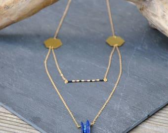 Necklace with lapis lazuli and miyuki beads multi-rang brass