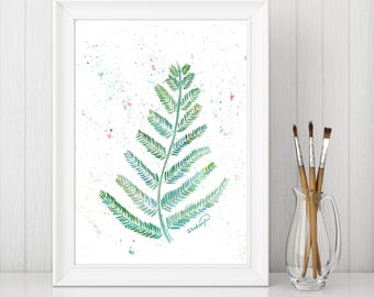 Original watercolor painting of a fern leaf