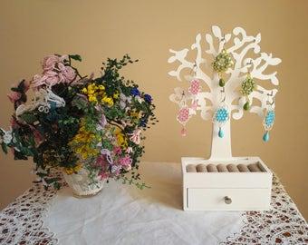 Handmade earrings-Swarovski and metallic thread