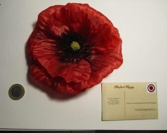 Red Poppy hair flower clip