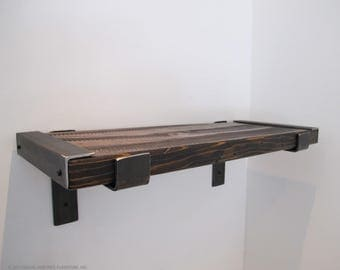 Rustic shelf, reclaimed wood shelf, bar shelves,Modern kitchen shelving, Industrial shelving