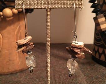 Wood & Clear Quartz dangle