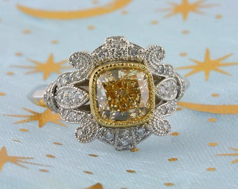 Cushion Cut Canary Yellow Diamond Engagement Ring 14k White Gold Antique Style Vintage