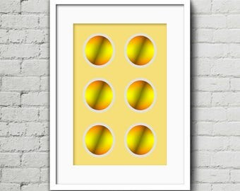 6 Yellow/Grey Circles II - Art Print