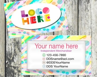 Rainbow Swirl Business Card, Merchandiser, Customized, Digital Download, Printable and Double Sided DotDotSmile