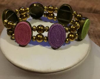 Purple,green and pink stretch bracelet