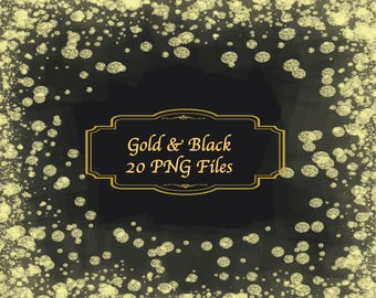 "Gold Glitter Confetti on Black background scrapbooking papers wedding invitations party 12x12"" 300dpi"