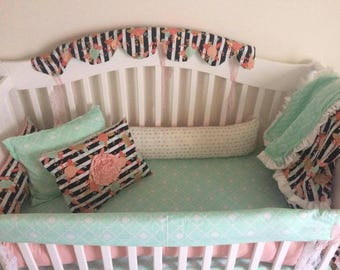 Mint and coral bedding