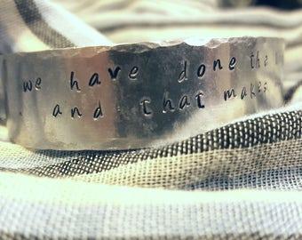 Hand stamped metal bracelet