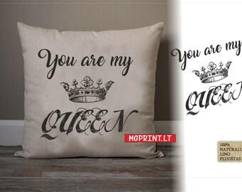 Decorative linen pillow for Queen