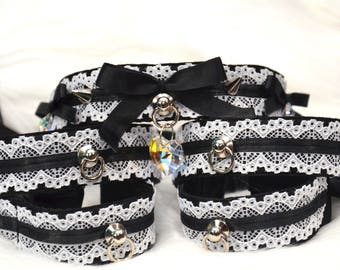 BDSM/Kitten Play Deluxe Maid Set Tug Proof with Swarovski Crystals-Collar, Wrist and Ankle Cuffs