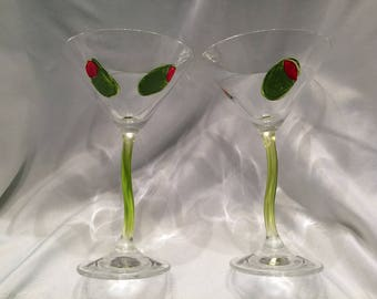 Martini Glasses with Olives