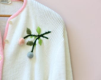 VINTAGE 50's Pom Pom Flower Sweater